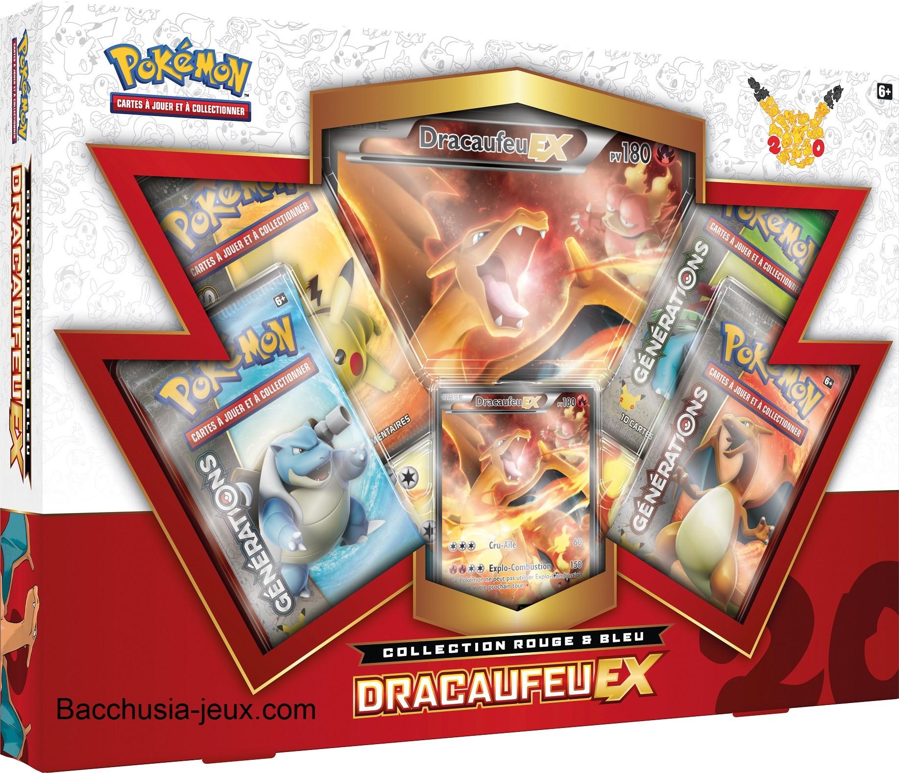 Pokémon Coffret été Dracaufeu Ex Collection Rouge Et Bleu Générations 20 Ans Bacchusia Jeux