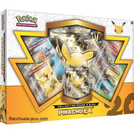 Pokémon Coffret été Pikachu EX, collection rouge et bleu, générations 20 ans