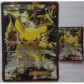 Carte Pikachu EX XY124 Normale+Jumbo Collection pokemon coffret rouge et bleu